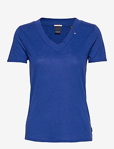 Feminine tee with deep V neck in linen mix quality - YINMIN BLUE