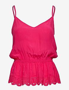 Summer viscose tank / Summer viscose tank mixed with jersey - topy bez rękawów - pink pier