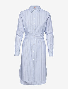 Shirt dress with a wrapping strap in waist - COMBO B