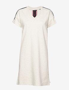 Basic sweat dress with sporty rib at back - ECRU MELANGE