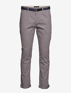 Ams Blauw Stuart chino with belt in stretch peached quality - chinos - grey