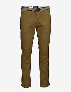 Ams Blauw Stuart chino with belt in stretch peached quality - chinos - military green