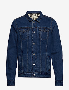 Reversible denim and canvas trucker jacket with allover prin - vestes en jean - combo a