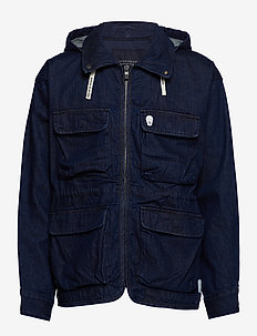 Oversized denim parka jacket with hood - spijkerjassen - denim blue