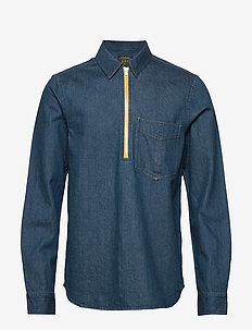 Lot 22 popover denim worker shirt with contrast zipper - chemises basiques - indigo