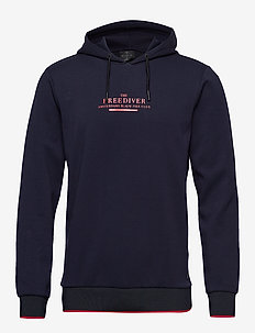 Clean hooded sweat with rib artwork - hættetrøjer - navy
