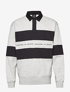 Polo sweat with technical woven  details - langærmede - light grey melange