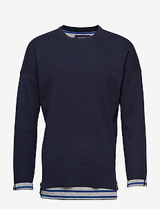 Reversible crew neck pull in solid combined with stripe - basic sweatshirts - combo a