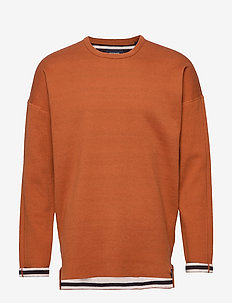 Reversible crew neck pull in solid combined with stripe - basic sweatshirts - combo b