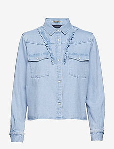 Bleached out clean denim western shirt with frill details - INDIGO
