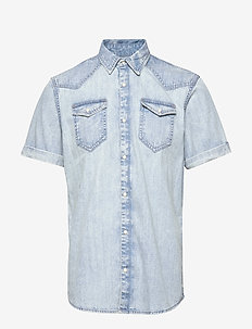 Ams Blauw short sleeve denim western shirt with seasonal was - chemises en jean - bleached indigo