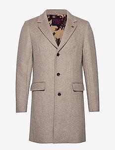 Classic single breasted coat - uldfrakker - sand melange