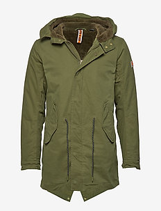 Classic hooded parka with teddy and mesh lining - parkas - military