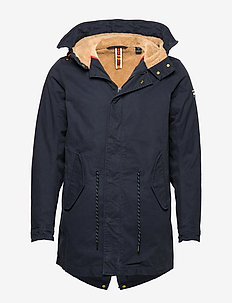 Classic hooded parka with teddy and mesh lining - parkas - night
