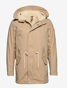 Classic hooded parka with teddy and mesh lining - parkas - sand