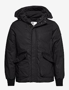 Short hooded jacket with inside quilting - vestes matelassées - black