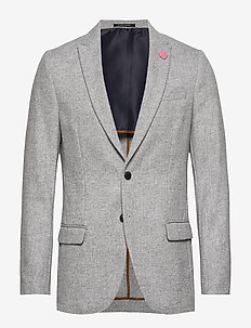Peak lapel blazer in wool-blend quality with neps - COMBO C