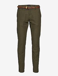 STUART - Classic garment-dyed twill chino - OLIVE