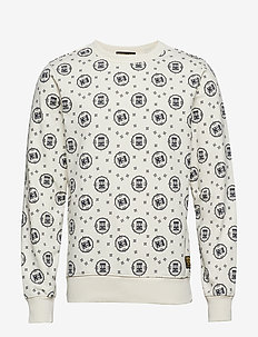 Crewneck sweat with logo all-over print - sweatshirts - combo a