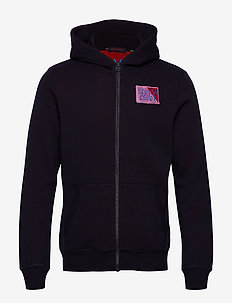 Classic zip-through hoody with chest badge - hættetrøjer - night