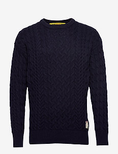 Wool/cotton-blend crewneck pull in cable knit - tricots basiques - night