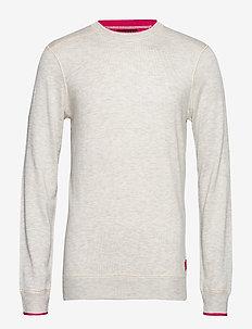 Crewneck pull in sweatshirt styling with contrast detail - sweatshirts - light grey melange
