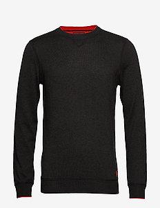 Crewneck pull in sweatshirt styling with contrast detail - sweatshirts - military melange