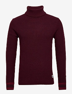 Chic wool-blend turtleneck pull in rib knit - basic strik - barbera