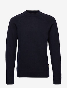 Chic wool-blend raglan pull with high collar - tricots basiques - night