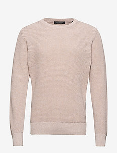 Structured crewneck pull in recycled yarns - ECRU MELANGE