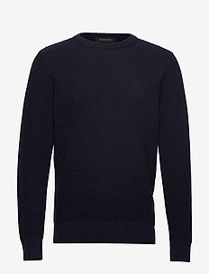 Structured crewneck pull in recycled yarns - NIGHT MELANGE