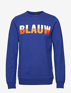 Ams Blauw signature crew sweat in regular fit - sweatshirts - yinmin blue