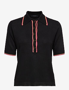 Drapy knitted polo with sporty ribs - poloshirts - black