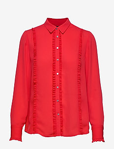 Regular fit shirt with ruffles - MARS RED