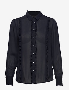 Regular fit shirt with ruffles - NIGHT