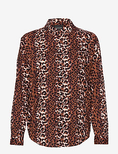 Oversized boxy fit cotton viscose shirt in various prints - COMBO X