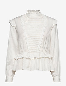 Top with ruffles and ladder details - OFF WHITE