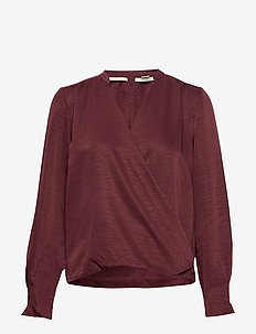 Drapey top with wrapover - AUBERGINE