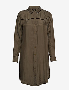 Shirt dress in cupro viscose blend - MILITARY
