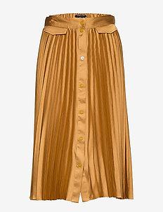 Pleated midi skirt with placket - HONEY
