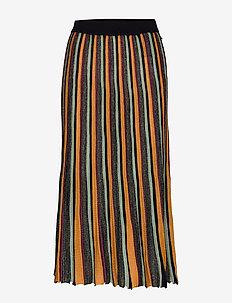 Pleated midi length skirt in multicolour lurex stripe - COMBO W