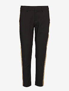 Tailored stetch pants with contrast side panel - BLACK