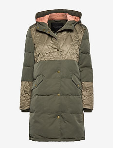 Mixed fabric parka jacket with quilting details - MILITARY
