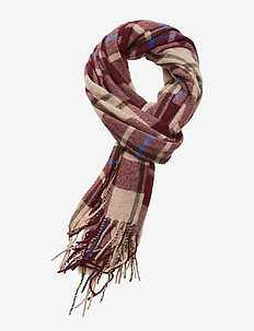 Classic woven check scarf in wool-blend quality - scarves - combo b