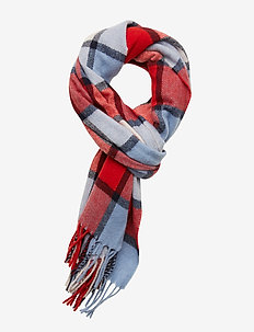 Classic woven check scarf in wool-blend quality - scarves - combo c