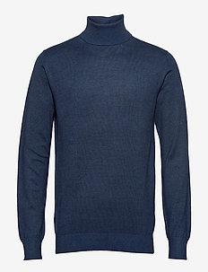 Classic turtleneck pull in melange viscose-blend - tricots basiques - denim blue melange