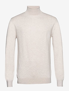 Classic turtleneck pull in melange viscose-blend - basic strik - ecru melange
