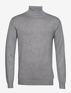 Classic turtleneck pull in melange viscose-blend - basic strik - grey melange