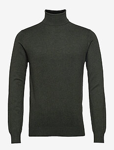 Classic turtleneck pull in melange viscose-blend - basic strik - military melange