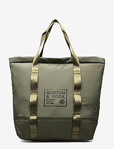 Padded shopper with logo print - weekendtasker - army